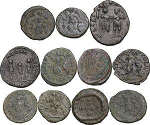 reverse: The Roman Empire.. Multiple lot of eleven (11) AE coins. Late Empire