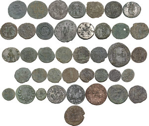 reverse: The Roman Empire.. Multiple lot of fourty (40) unclassified AE coins
