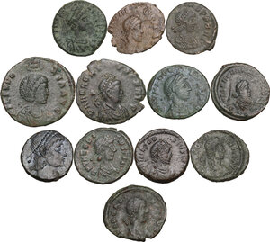 obverse: The Roman Empire.. Multiple lot of twelve (12) AE Coins. Late Empire