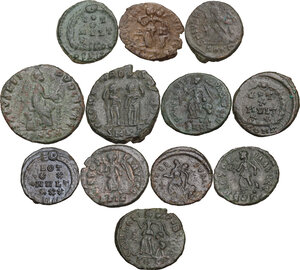 reverse: The Roman Empire.. Multiple lot of twelve (12) AE Coins. Late Empire