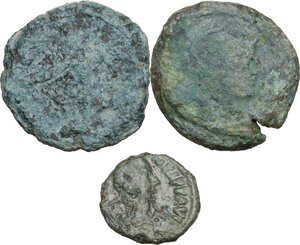 obverse: The Roman Republic and Migration Period.. Multiple lot of three (3) coins, inlcuding (2) Roman Republic AE As, and (1) Ostrogothic AE Pentanummium (R)