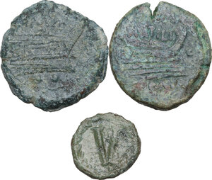reverse: The Roman Republic and Migration Period.. Multiple lot of three (3) coins, inlcuding (2) Roman Republic AE As, and (1) Ostrogothic AE Pentanummium (R)