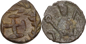 reverse: Barbaric Imitative Coinage.. Lot of two (2) unclassified AE coins