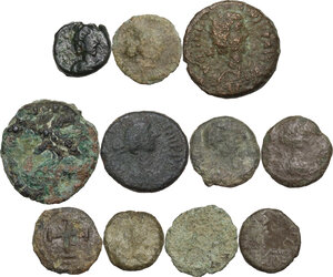 obverse: The Barbaric World and the Byzantine Empire.. Interesting multiple lot of eleven (11) unclassified AE Fractions