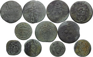 obverse: Papal State.. Multiple lot of eleven (11) unclassified AE denominations