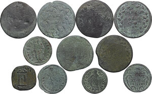 reverse: Papal State.. Multiple lot of eleven (11) unclassified AE denominations