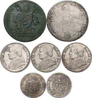 obverse: Papal State.. Multiple lot of seven (7) unclassified AR/AE papal coins