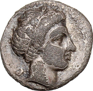 obverse: Central and Southern Campania, Neapolis. AR Obol, 320-300 BC