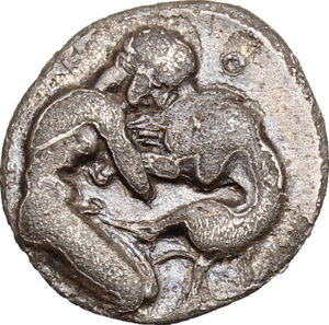 reverse: Central and Southern Campania, Neapolis. AR Obol, 320-300 BC