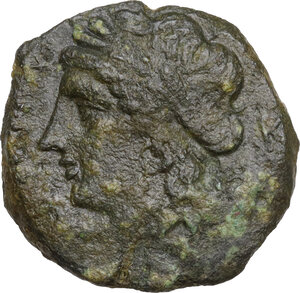 obverse: Central and Southern Campania, Neapolis. AE Obol, circa 275-250 BC