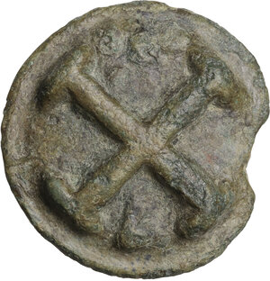 reverse: Northern Apulia, Luceria.  Light series. . AE Cast Quincunx, c. 217-212 BC