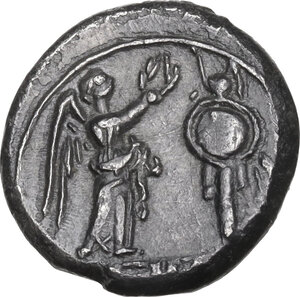 reverse: Anonymous. AR Victoriatus, Rome mint, from 211 BC