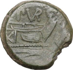 reverse: L. Furius Purpurio. AE As, 169-158 BC
