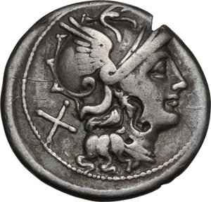 obverse: Anonymous. AR Denarius, 157-156 BC