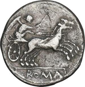 reverse: Anonymous. AR Denarius, 157-156 BC