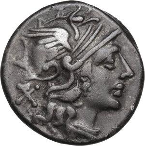 obverse: Decimius Flavus. . AR Denarius, 150 BC