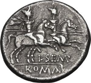 reverse: L. Sempronius Pitio. . AR Denarius, 148 BC