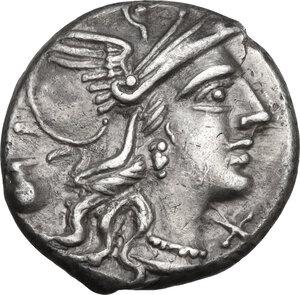 obverse: Sex. Pompeius Fostlus.. AR Denarius, 137 BC