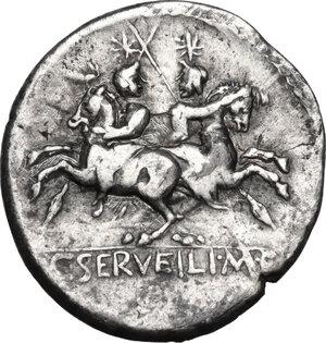 reverse: C. Servilius M.f.. AR Denarius, 136 BC