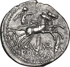 reverse: M. Marcius Mn. f.. AR Denarius, 134 BC