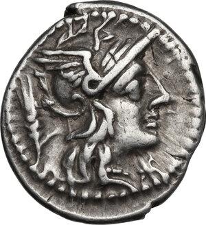 obverse: Cn. Domitius Ahenobarbus.. AR Denarius, 128 BC