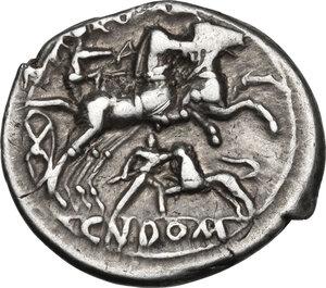 reverse: Cn. Domitius Ahenobarbus.. AR Denarius, 128 BC