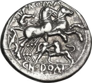 reverse: Cn. Domitius.. AR Denarius, 128 BC