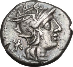 obverse: L. Caecilius Metellus.. AR Denarius, 128 BC