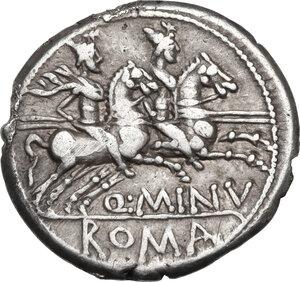 reverse: Q. Minucius Rufus. AR Denarius, 122 BC
