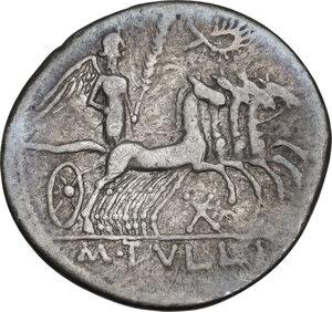 reverse: M. Tullius.. AR Denarius, 120 BC