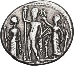 reverse: Cn. Cornelius Blasio. AR Denarius, 112-111 BC