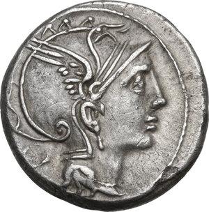 obverse: T. Manlius Mancinus, Appius Claudius Pulcher and Q. Urbinius. . AR Denarius, 111-110 BC