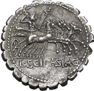 reverse: L. Scipio Asiagenus.. AR Denarius serratus, 106 BC