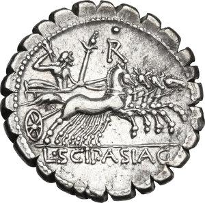 reverse: L. Cornelius Scipio Asiagenus.. AR Denarius serratus, 106 BC