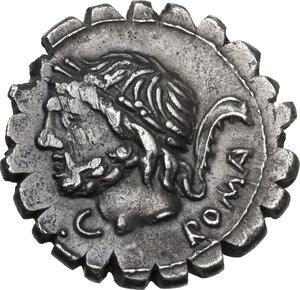 obverse: L. Memmius Galeria. AR Denarius serratus, 106 BC
