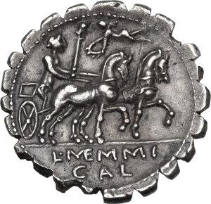 reverse: L. Memmius Galeria. AR Denarius serratus, 106 BC
