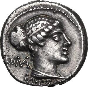 obverse: M. Cato. AR Denarius, 89 BC