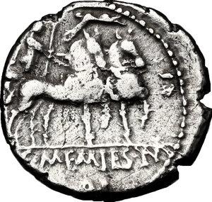 reverse: L. and C. Memmius L.f. Galeria.. AR Denarius, 87 BC