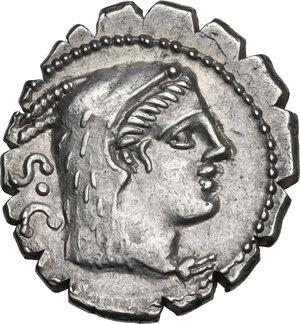 obverse: L. Procilius. AR Denarius serratus, 80 BC
