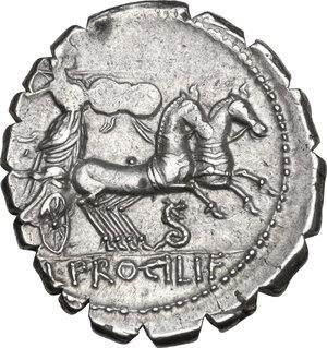 reverse: L. Procilius. AR Denarius serratus, 80 BC