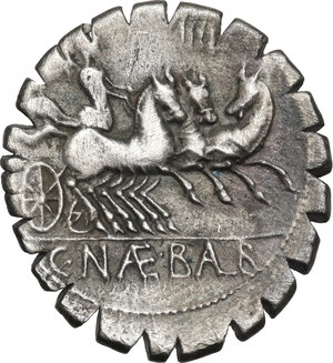 reverse: C. Naevius Balbus. AR Denarius serratus, 79 BC