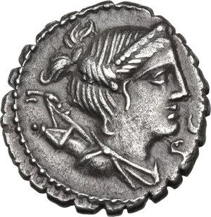 obverse: Ti. Claudius Nero. AR Denarius serratus, 79 BC