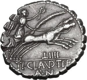 reverse: Ti. Claudius Nero. AR Denarius serratus, 79 BC