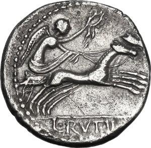 reverse: L. Rutilius Flaccus.. AR Denarius, 77 BC