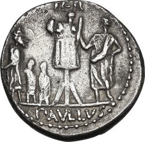 reverse: L. Aemilius Lepidus Paullus.. AR Denarius, 62 BC