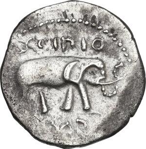 reverse: Q. Caecilius Metellus Pius Scipio.. AR Denarius, 47-46 BC, Africa mint