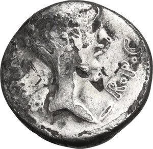 obverse: Fulvia, first wife of M. Antony (died 40 BC).. Brockage AR Quinarius, 43 BC