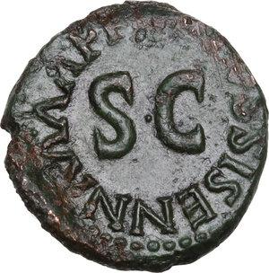 reverse: Augustus (27 BC - 14 AD)  . AE Quadrans, Apronius, Galus, Messalla and Sisenna as III Viri Monetales, 5 BC