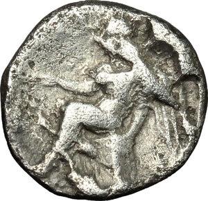 reverse: Bruttium, Terina. AR Triobol, c. 400-356 BC