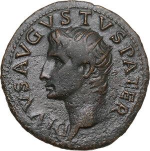obverse: Divus Augustus (died 14 AD).. AE As. Struck under Tiberius, 34-37 AD